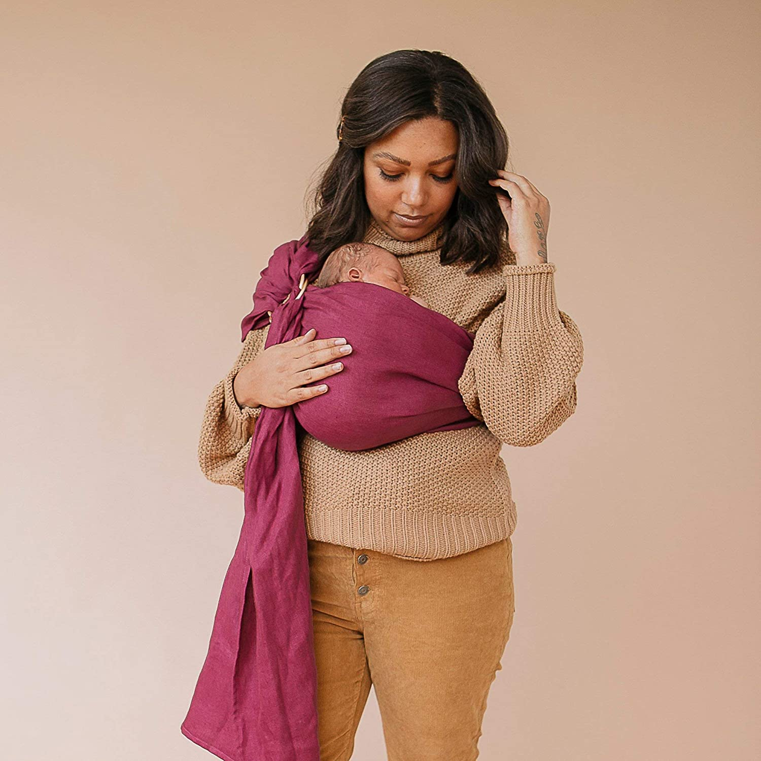 WildBird Ring Sling Baby Carrier Made from 100/% Belgian Linen Newborns to Toddlers - Solid Color Owl Fabric//Rose Gold Ring