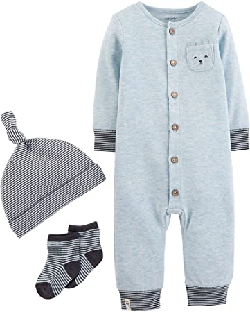13b5b9851 Image Unavailable. Image not available for. Color: Carter's Baby Boys 3-pc.  Cute Take Me Home Layette Set 6 Months Blue