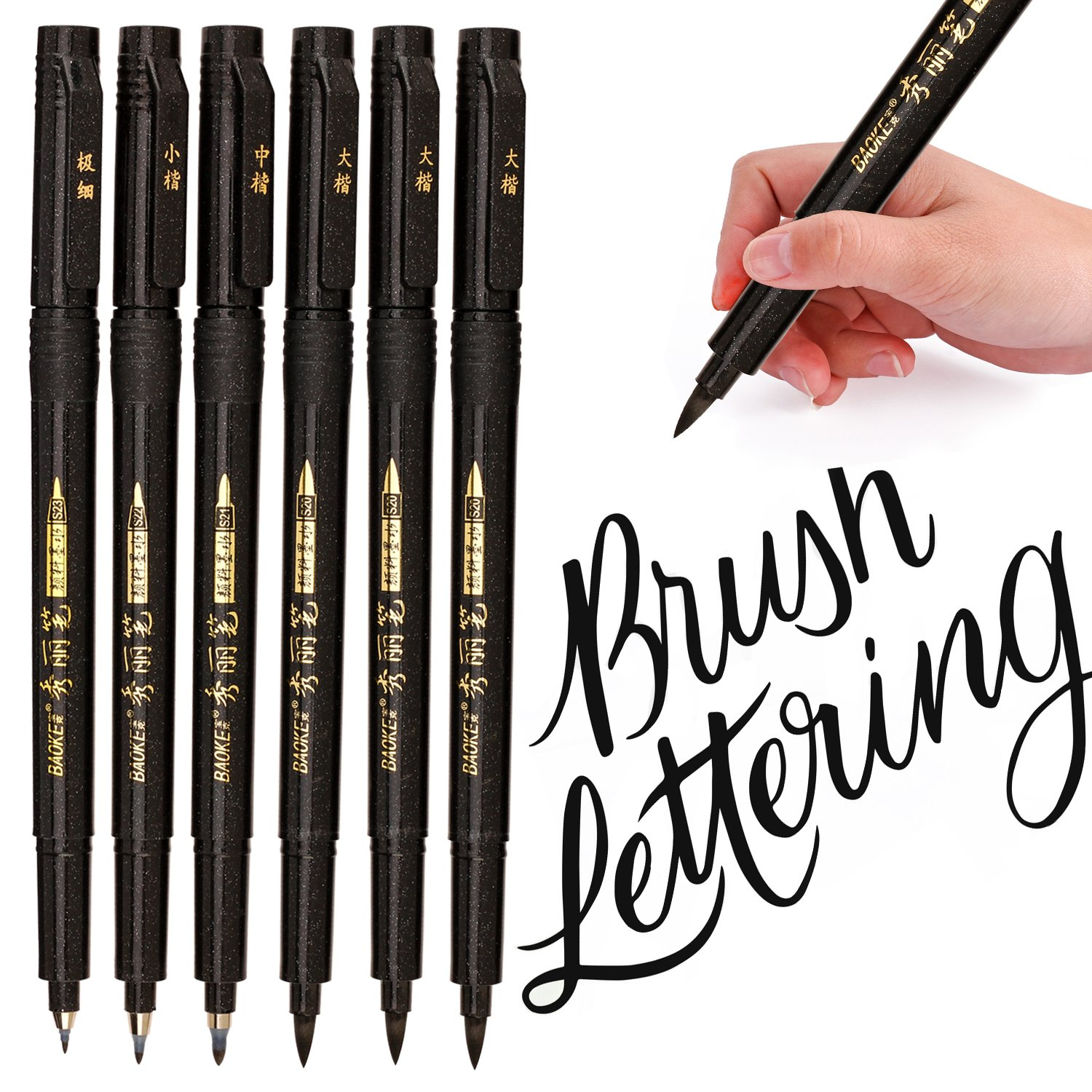 Lettering Pens, Refill Brush Calligraphy Markers Set - 4 Size(6 Pack), for Beginners Writing, Art Drawings, Water Color Illustrations, Journaling and More PANGPANG