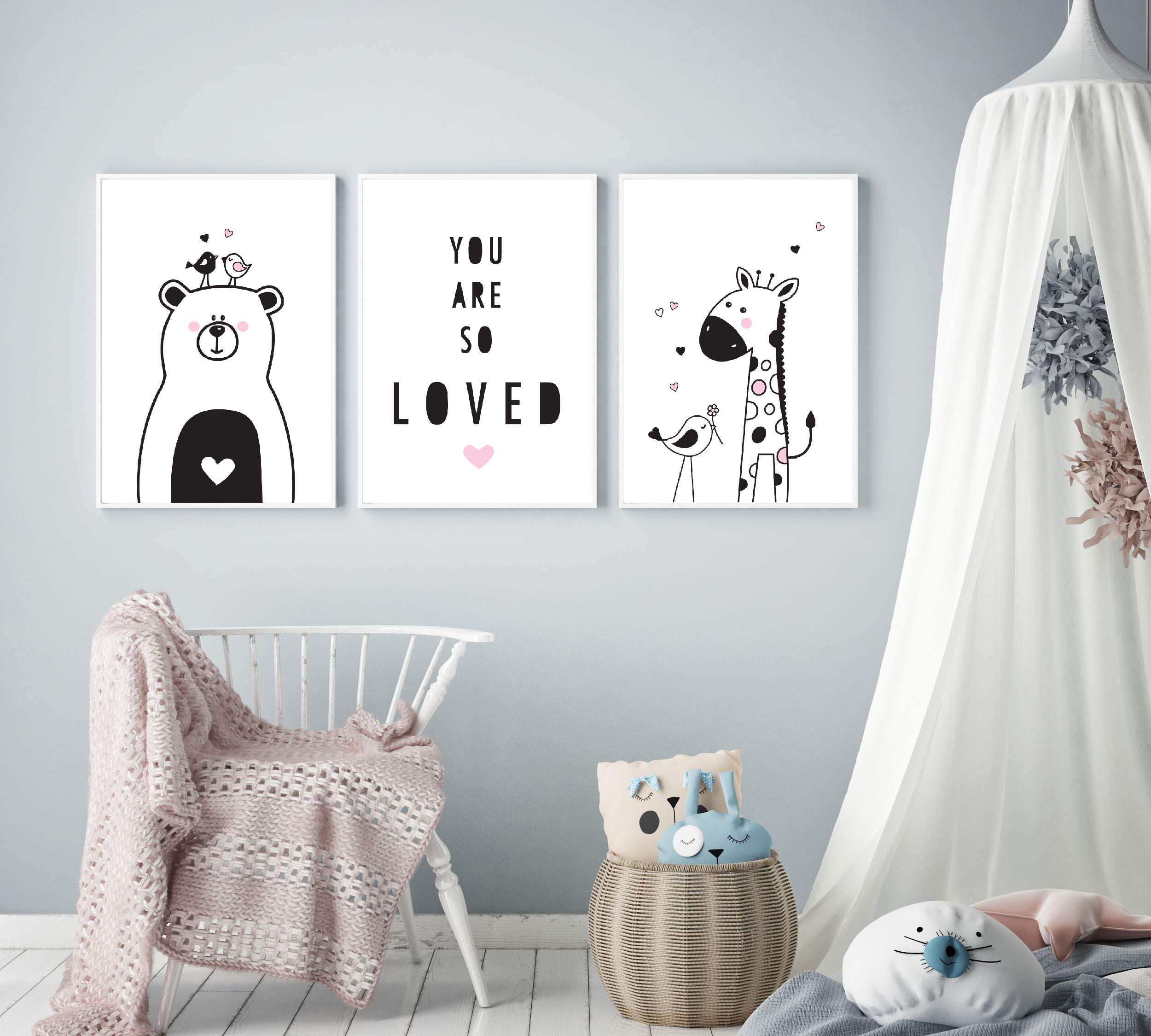 Modern Nursery Art by Mila Lou - Set of 3 - Framed - 10x12 - Cute Animals Kids Room Wall Decor (Pink Accents)