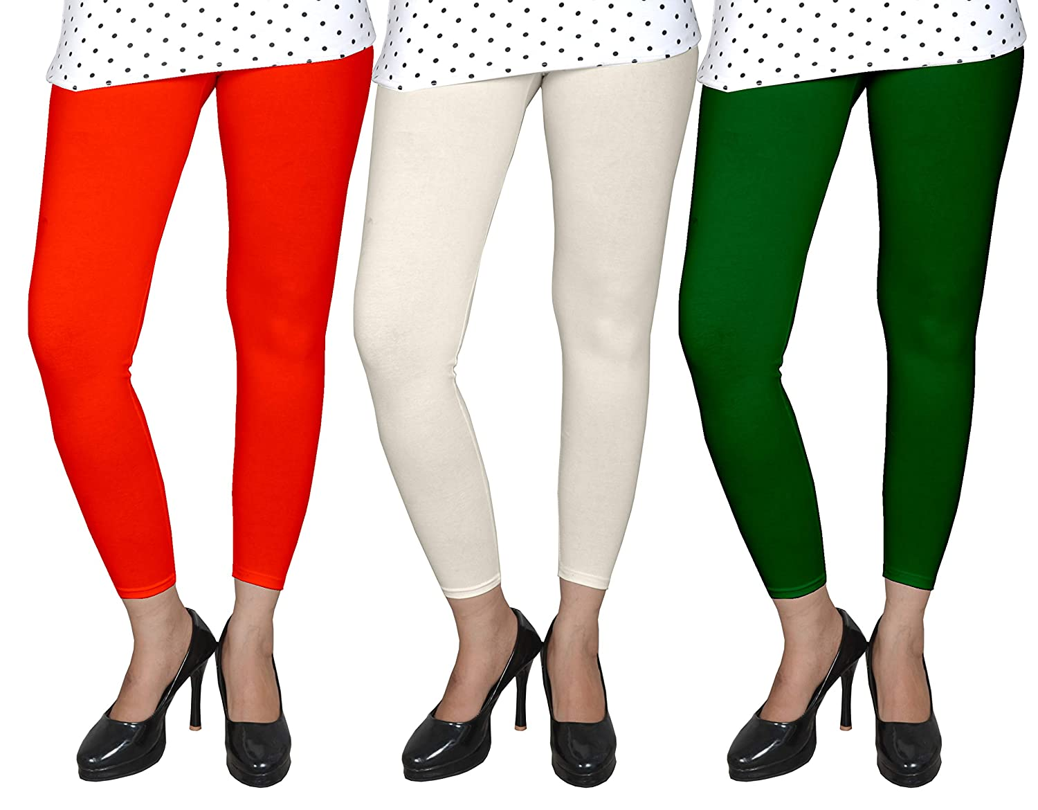 1819f85593775 Ancientstar Ankle Length Leggings for Womens/Girls/Ladies - Black,White,Maroon,Orange,Yellow,Pink,Red,Green,DarkGreen,Navyblue,Purple,Grey,Beige,Raama  ...
