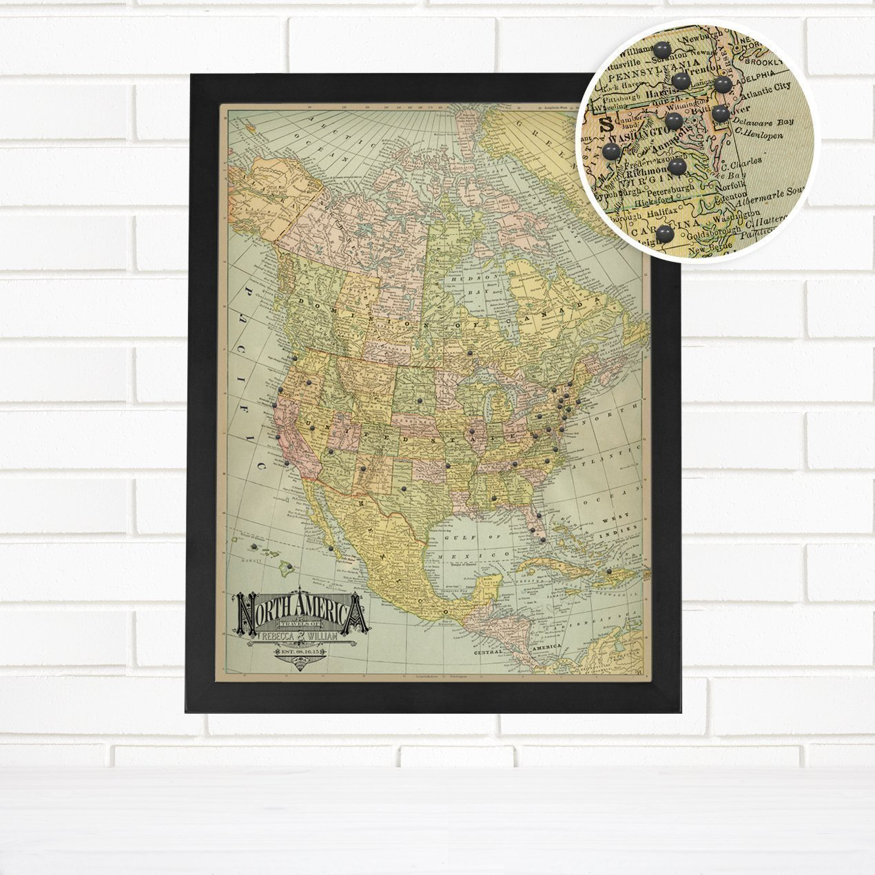 Personalized ''Vintage North America'' Blue Travel Push Pin Map Art