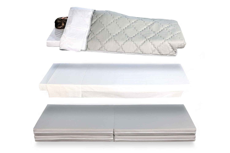 EvergreenWeb Space Plus - Futón plegable, multifunción 4 en 1, puf, colchón individual y de matrimonio con sábanas, para ahorra espacio: Amazon.es: Hogar