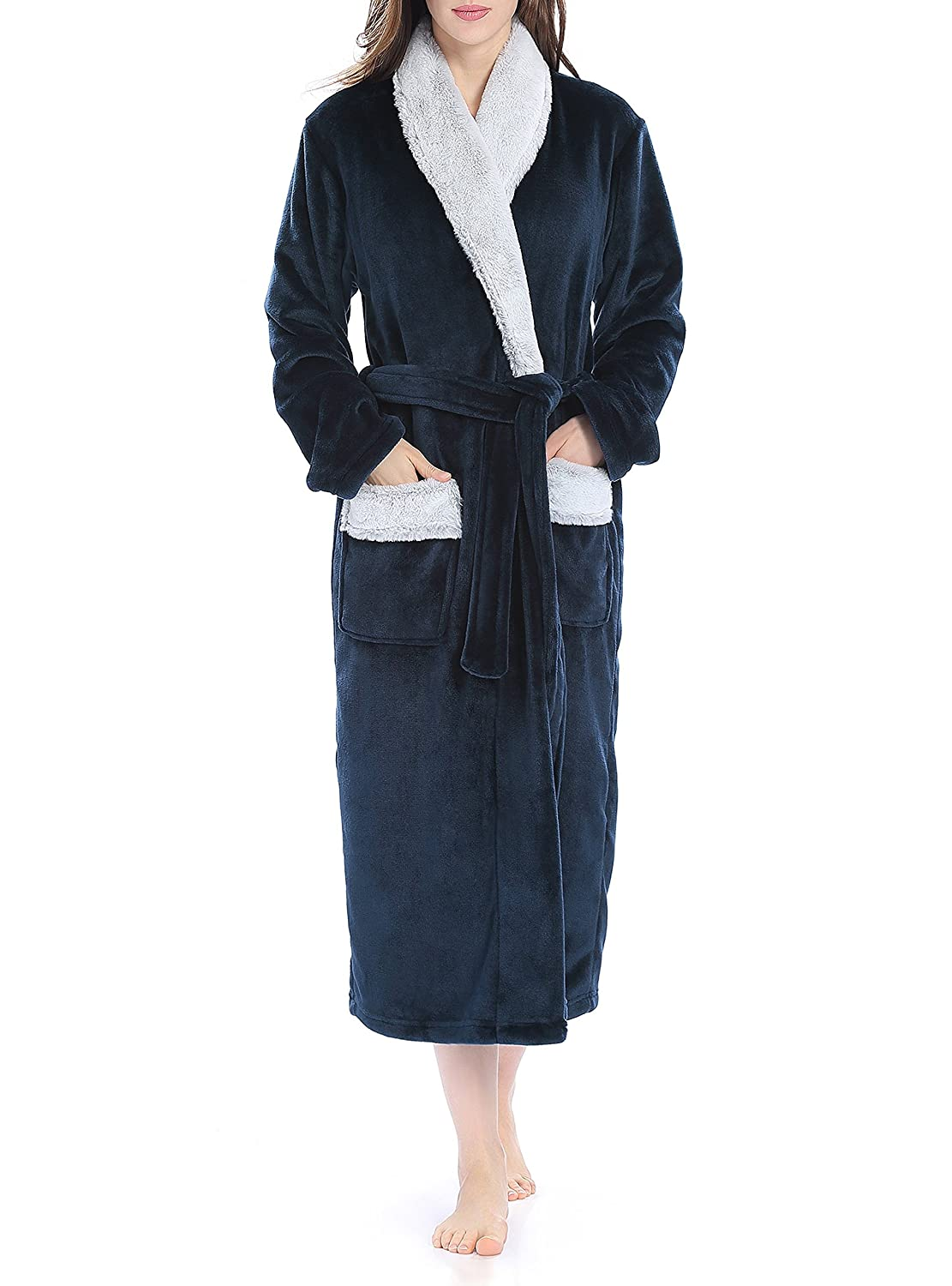 Genuwin Women's Fleeced Long Shawl Collar Bathrobe Gown Full Length Loungewear CN-Smashing