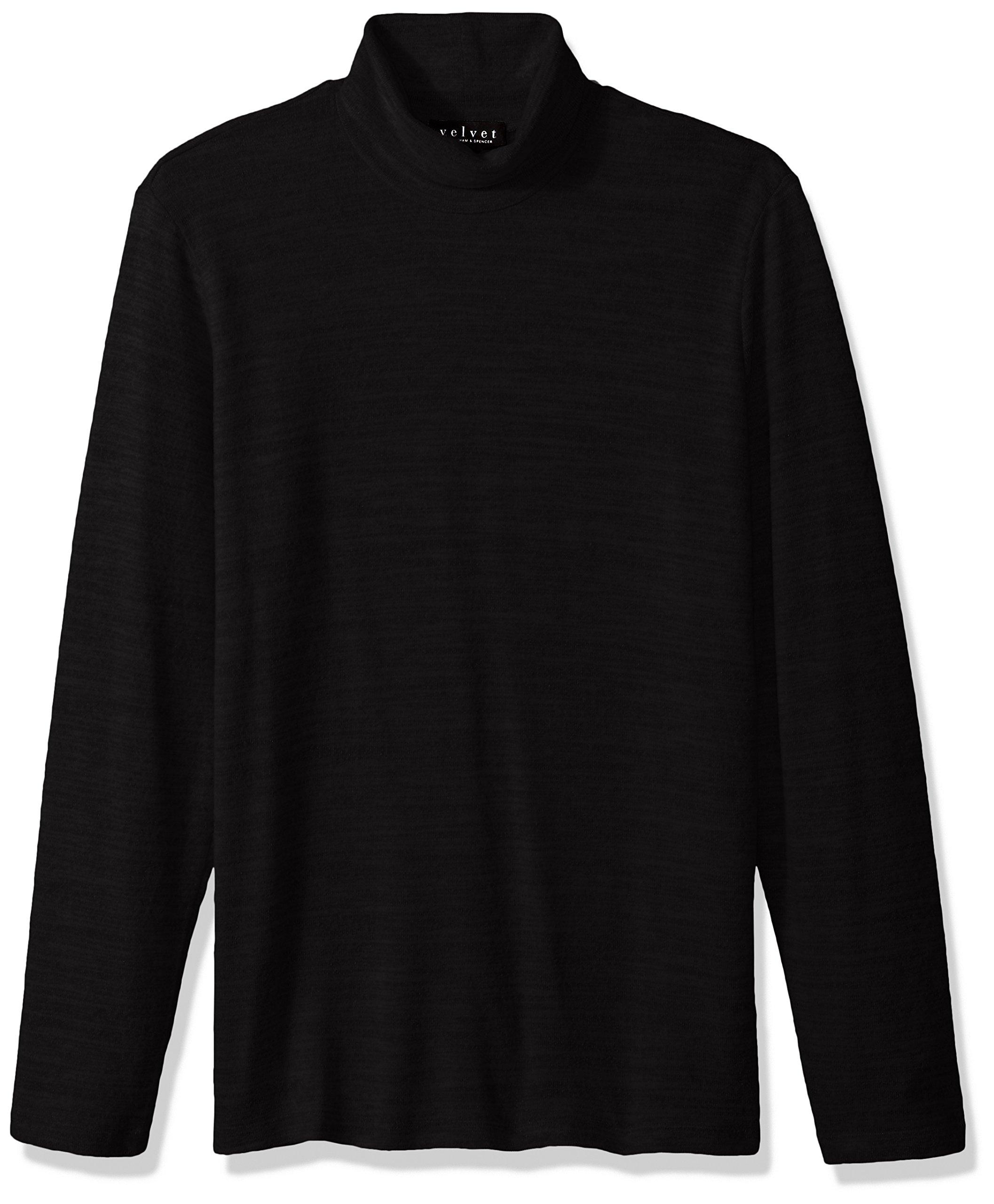 VELVET BY GRAHAM & SPENCER Men's Velvet Yale Turtleneck in Cozy Jersey, Black, Large