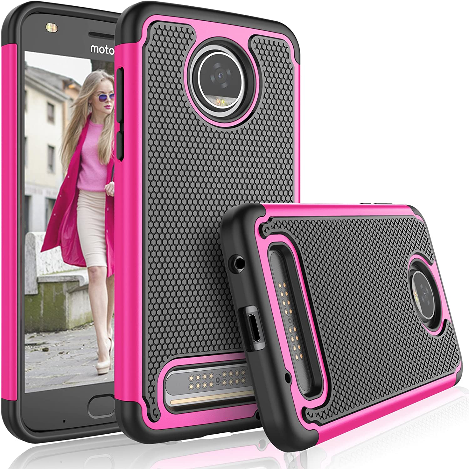 Tekcoo Moto Z2 Play Case, Tekcoo Motorola Z2 Play Droid Case for Girls, [Tmajor] Shock Absorbing [Rose] Rubber Silicone & Plastic Scratch Resistant Defender Bumper Hard Cases for Moto Z Play 2017