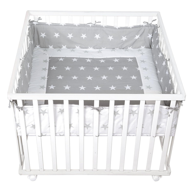 sicheres Spielgitter inkl Schutzeinlage /& Rollen Holz wei/ß roba Laufgitter Little Stars Baby Krabbelgitter 100x100cm
