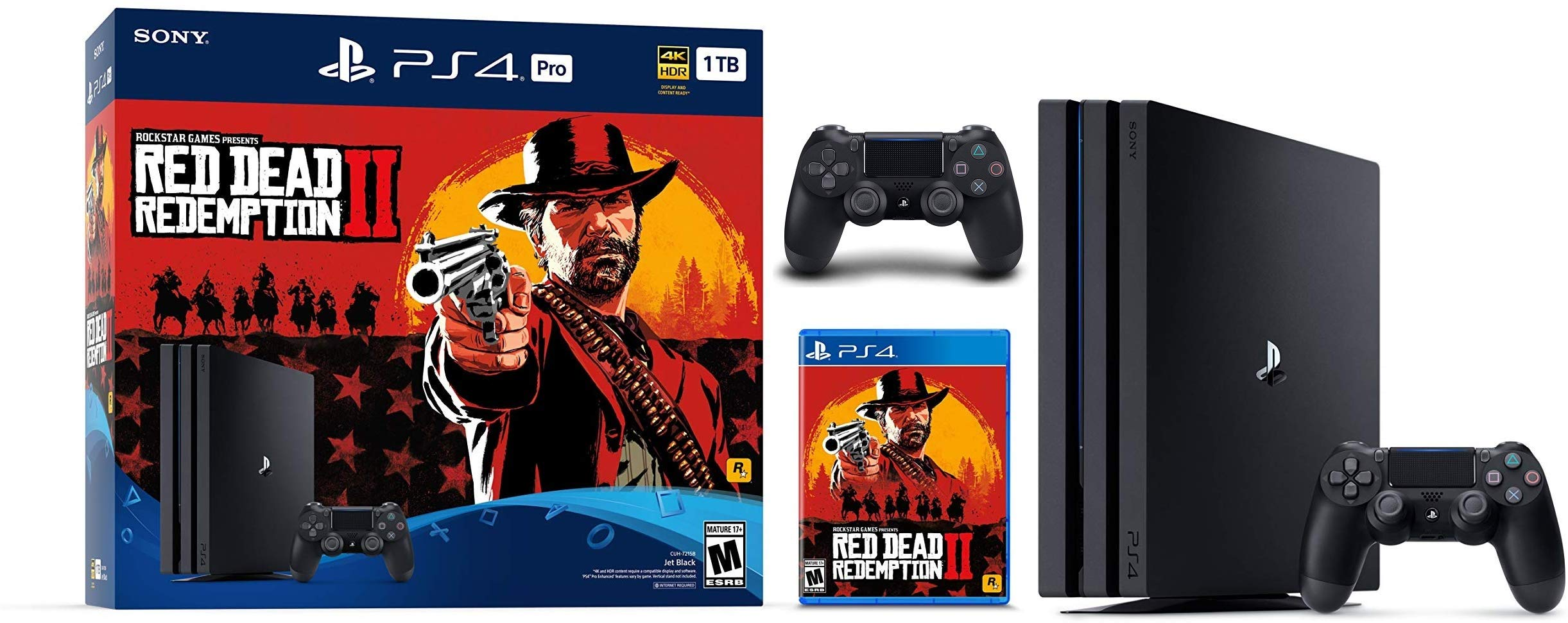 Sony PlayStation 4 PS4 Pro Console with Red Dead Redemption 2 Game Bundle, Can up to (1TB/2TB HDD/1TB SSD Storage)