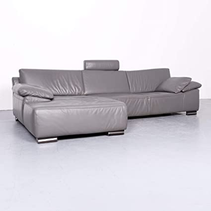Ewald Schillig Designer Leder Sofa Grau Echtleder Ecksofa Couch