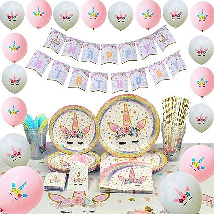 WERNNSAI Conjunto de Suministros de Fiesta de Unicornio - Cumpleaños para Niñas Bolsa de Cubiertos Mantel Platos Servilletas Pancartas Globos Tazas ...