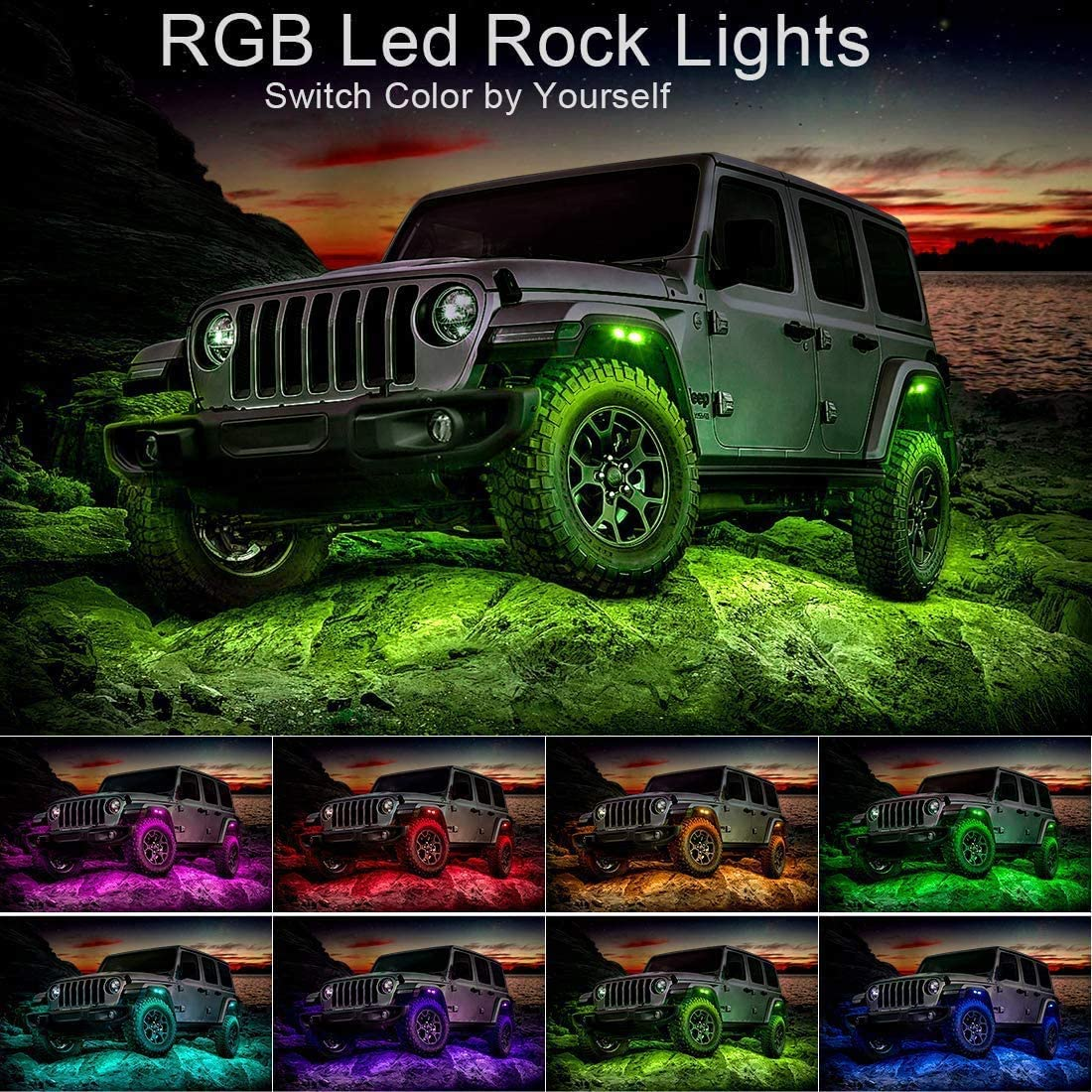 Cross-Country Truck Flashing Music Mode Bluetooth RGB Led Rock Light Kit for Trucks ATV Jeep Underground Glow Trail Rig Lamp Timing Light Function 8 Pods Led Rock Lights with Application Control