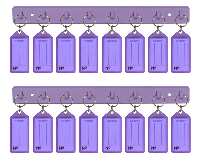 Acrimet Key Tag Rack w/ 8 Keyring Tags (2 Pack) (Purple)