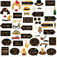 49pcs Roaring 20s Photo Booth Props Great Gatsby Party Decorations 1920s Party Supplies 20's Twenties Party Favors Jazz…