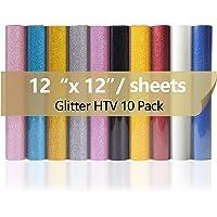 """12""""x12"""" Glitter HTV Vinyl, 10 Pack Glitter Heat Transfer Vinyl Sheets Iron On Vinyl for T-Shirt, 10 Assorted Colors HTV…"""