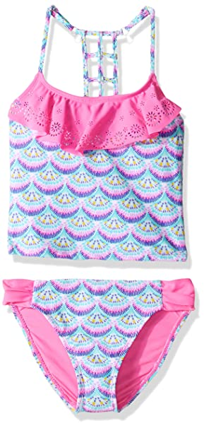 74c4404266 FEESHOW Big Girls Youth Tie-Dye Two Piece Tankini Swimsuit Halter Bathing  Suit Tank Top with Triangle Brefs