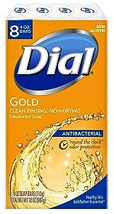 Dial Antibacterial Bar Soap, Gold, 4 Ounce (Pack of 8) Bars