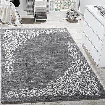 Paco Home Designer Teppich Mit Floral Muster Glitzergarn Grau Weiss