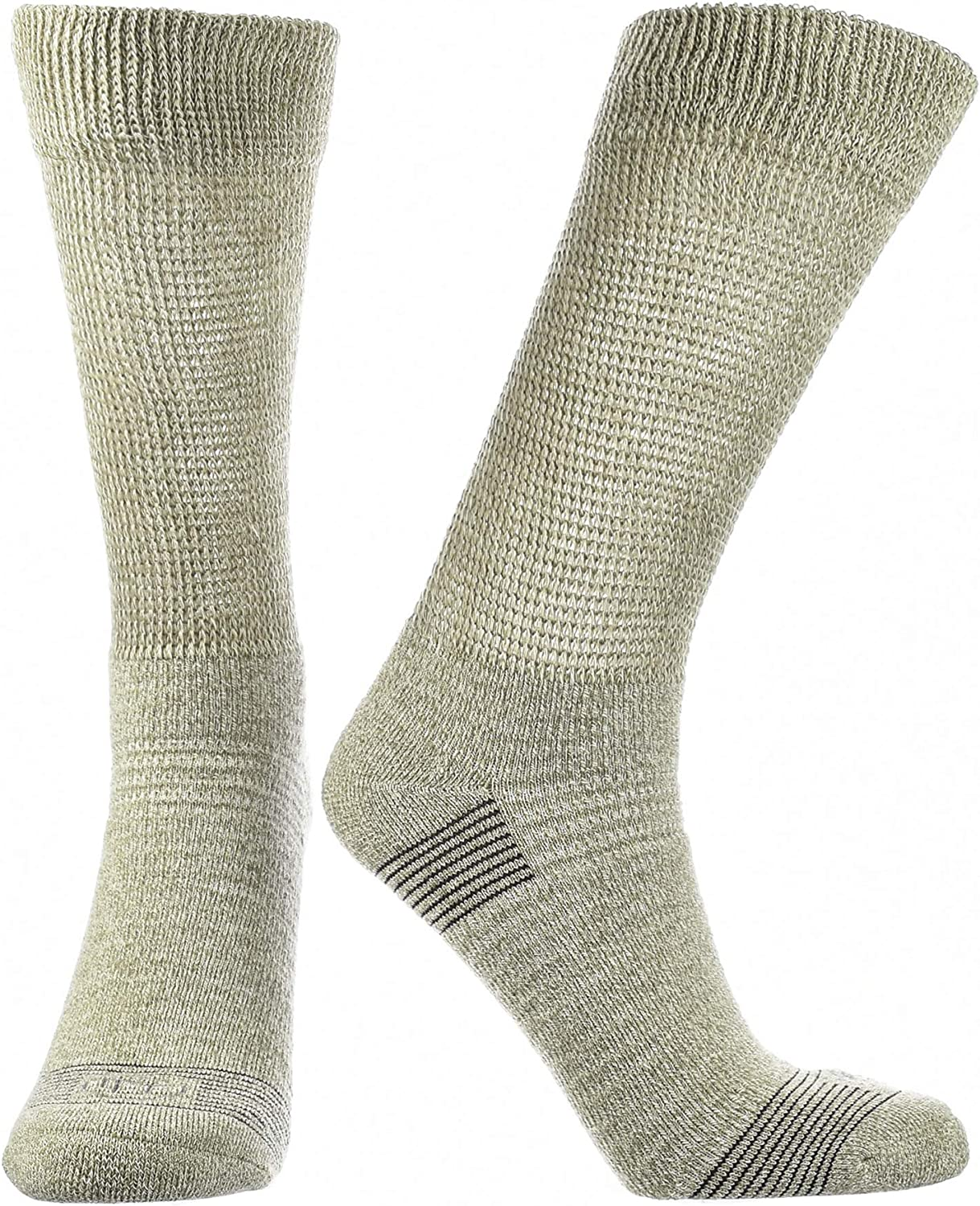 Doctor's Choice Women's Diabetic & Neuropathy Crew Socks, Non-Binding, Cushioned Sock with Aloe, Antimicrobial, Ventilation, and Seamless Toe, Single Pair, Tan, Medium: Womens Shoe Size 6-10: Health & Personal Care