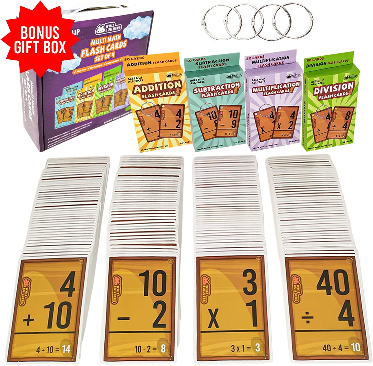 WhizBuilders Multi Math Flash Cards Addition, Subtraction, Division and Multiplication Flash Cards Bundle - Educational Learning Kindergarten Flashcards for 1st, 2nd, 3rd, 4th, 5th and 6th Grade