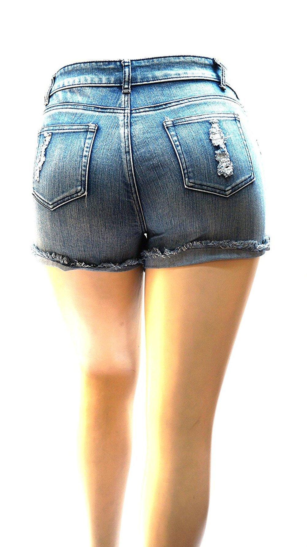 55cd152d52 Diamante Zenobia   1826 Womens Plus Size Short Stretch Distressed Ripped  Blue Denim Jeans Shorts