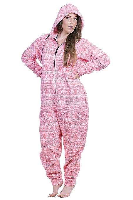8c4eaca104 Women s Plus Size Warm and Cozy Plush Adult Onesie Pajamas Onesies (Pink  Fair