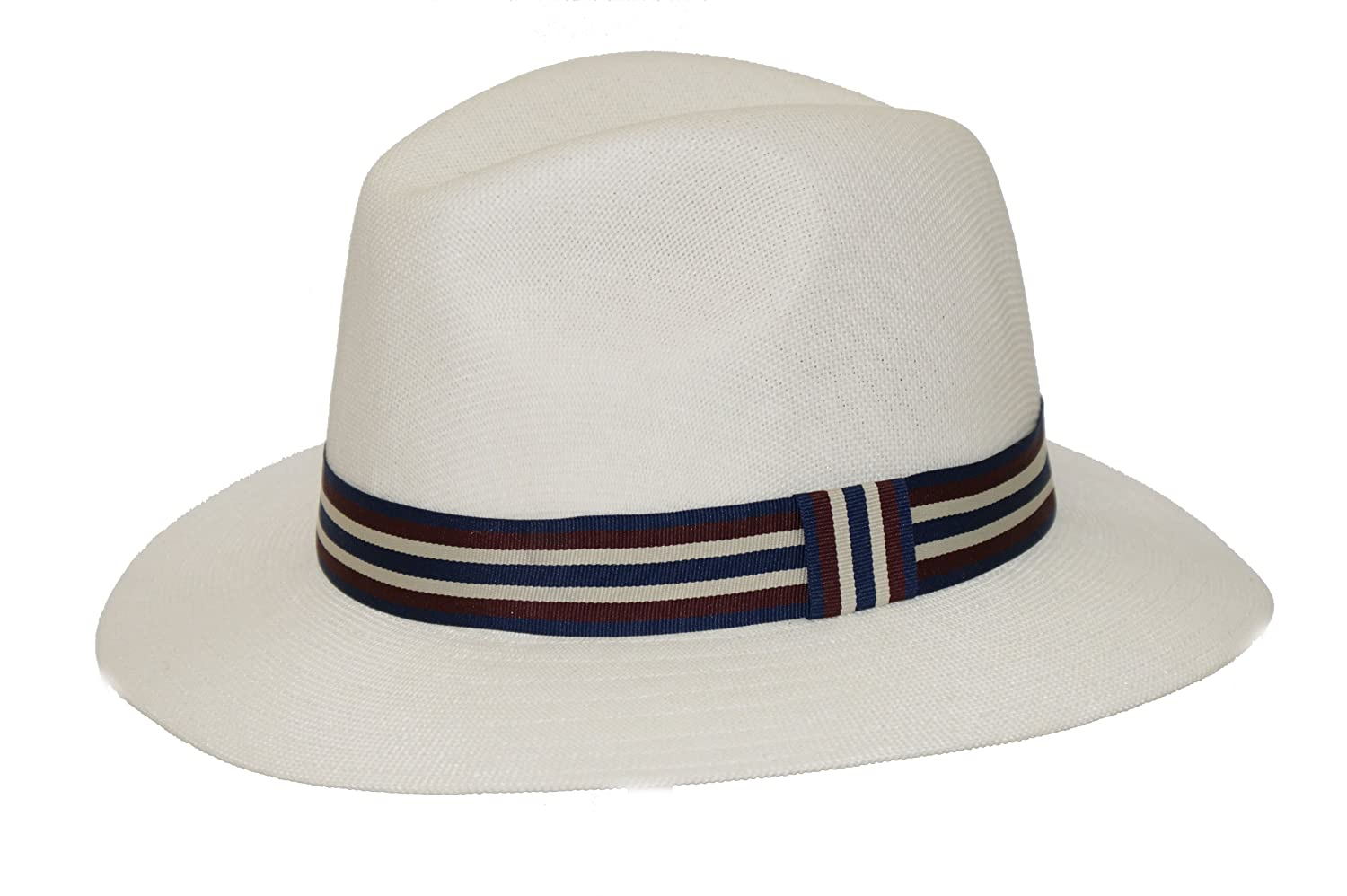96e75c6a7ee00 Men s Summer Striped Panama Polyester Style Trilby Hat
