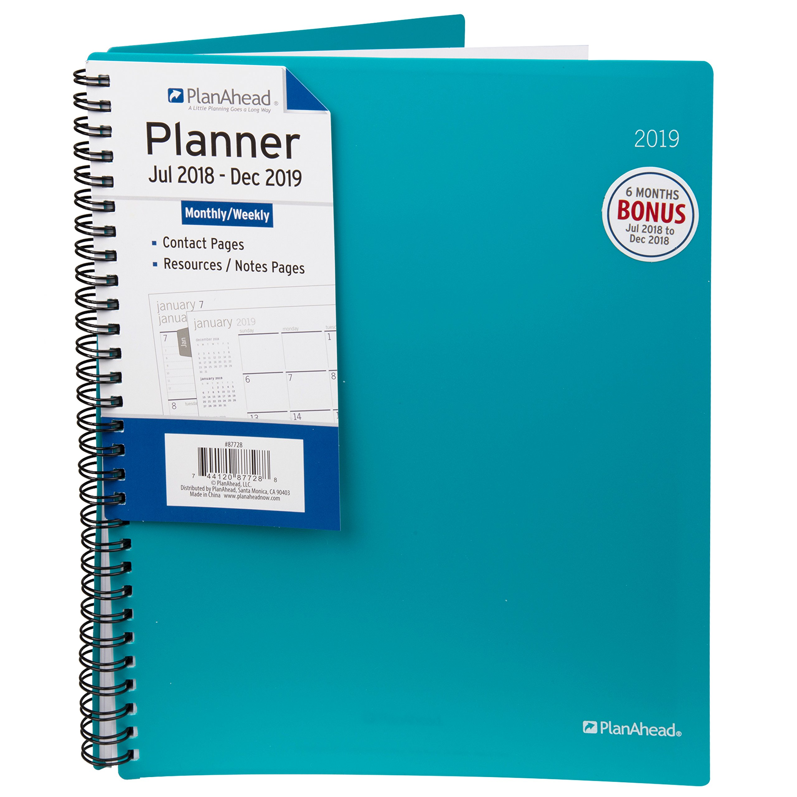 PlanAhead Home/Office 18 Month Planner, July 2018 - December 2019, 8.6 x 10.125 inches, Assorted Colors, Color May Vary