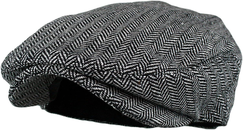 Youlng Mens Herringbone Tweed Wool Blend Snap Front Newsboy Hat
