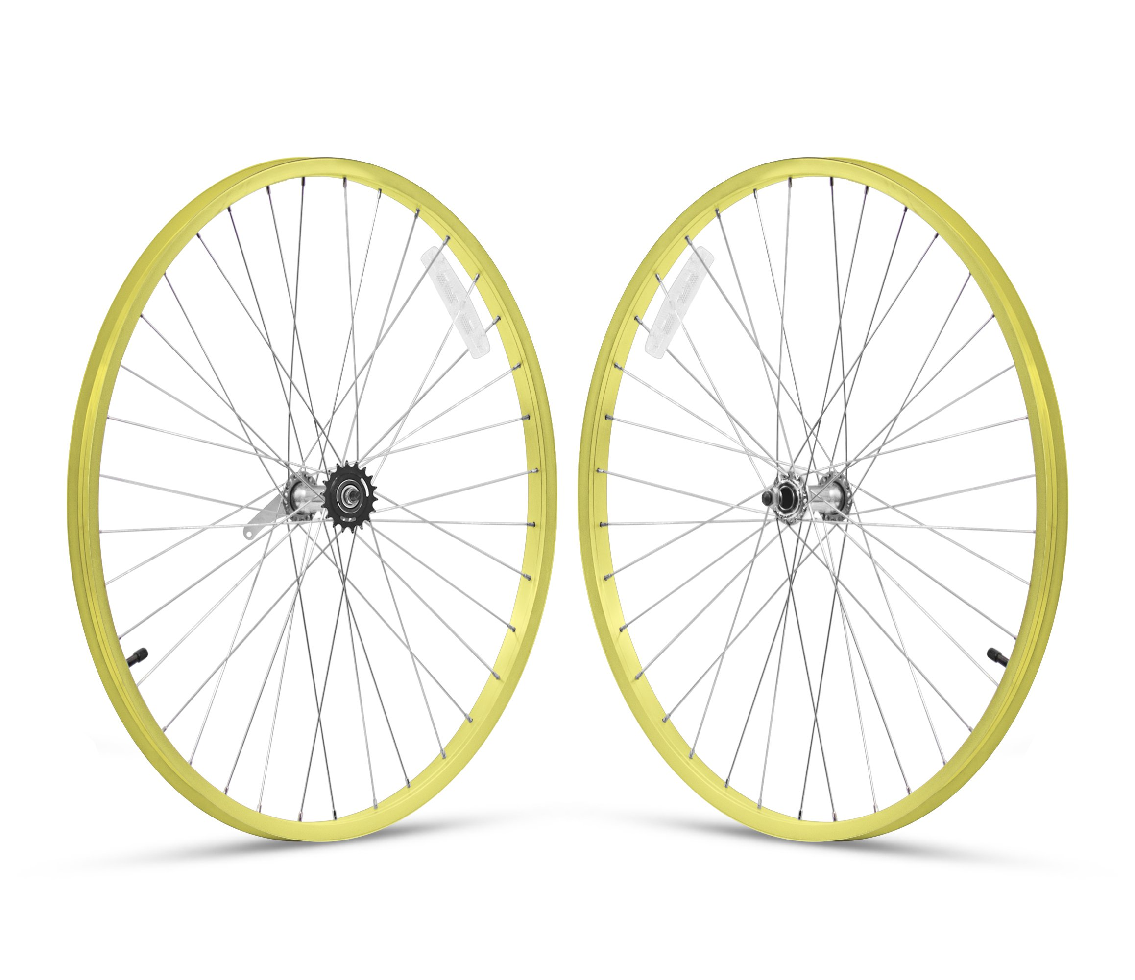 Firmstrong 1-Speed Beach Cruiser Bicycle Wheelset, Front/Rear, Yellow, 26''