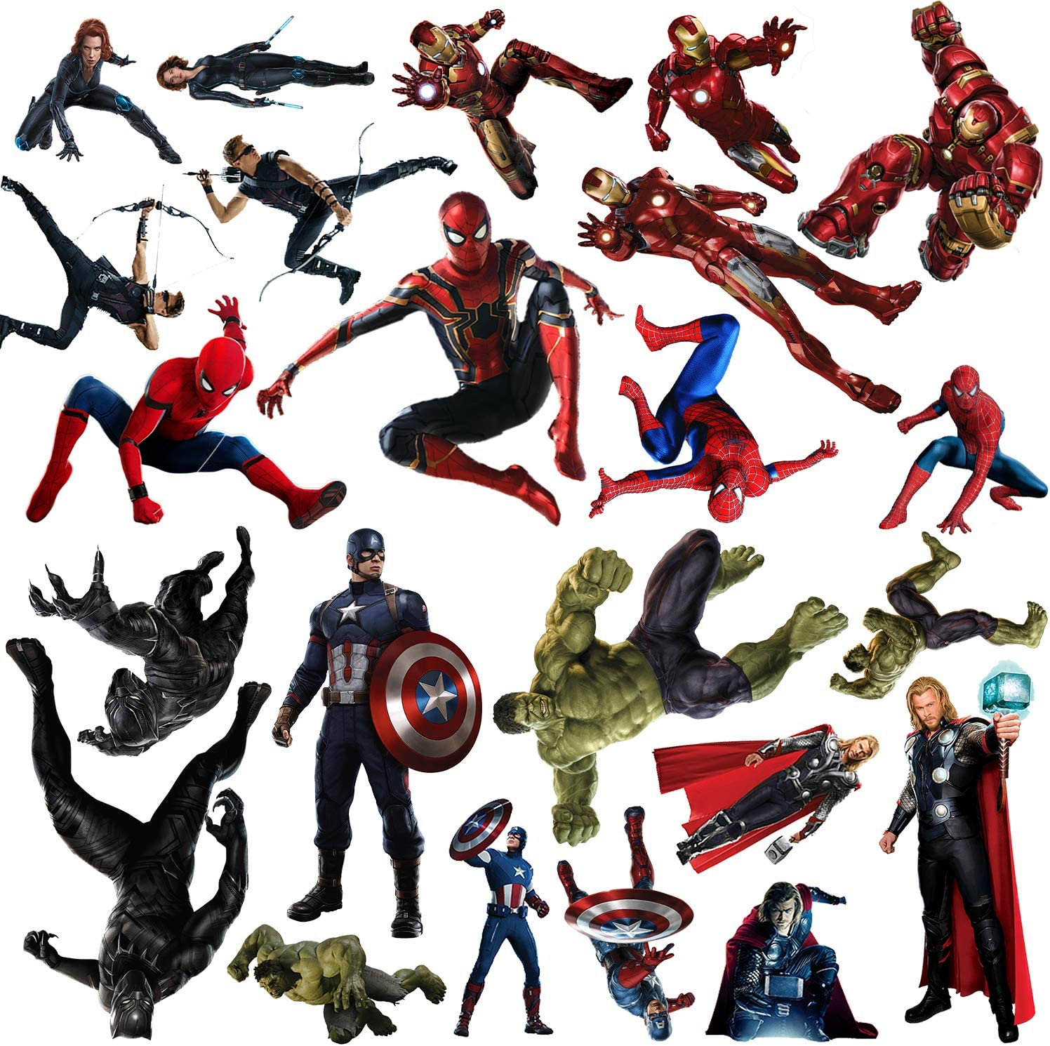 Superhero Wall Decals, 23 Pcs Large Waterproof Superhero Wall Kitchen Sticker Removable Decor Mural for Wall Bathroom Bedroom Living Room Kitchen Decoration
