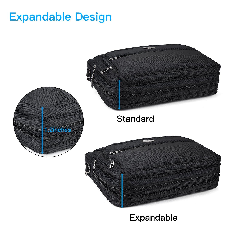15.6 inch Laptop Briefcase, Expandable Large Shoulder Bag with Adjustable Shoulder Strap for Business Travel College Office Multi-function Shockproof Case Waterproof Messenger Handbag by Welist (Image #3)