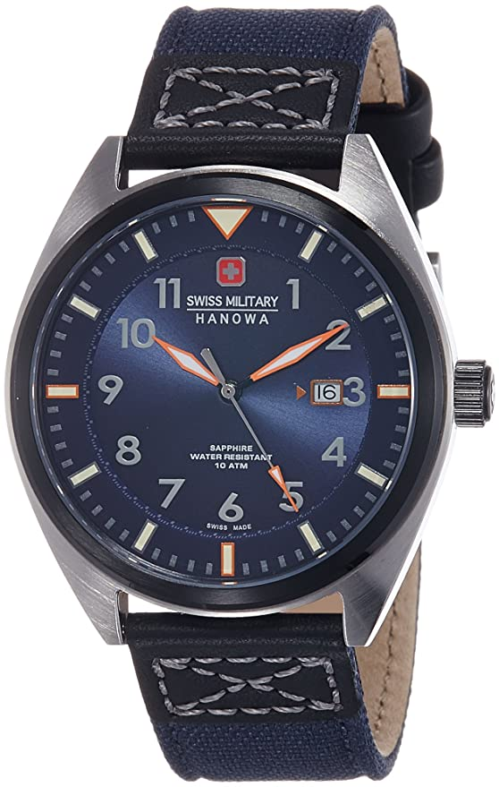 Amazon.com: Swiss Military 6-4258-33-003 Mens Airborne Blue Fabric Strap Watch: Watches