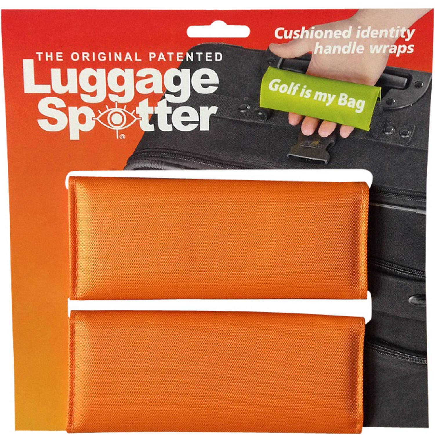 Luggage Spotter ORANGE Luggage Locator/Handle Grip/Luggage Grip/Travel Bag Tag/Luggage Handle Wrap (2 PACK)