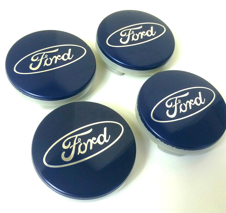 Ford Lot de 4 protections de jantes en alliage Cache-moyeu central 54 mm Logo bleu argenté OE Group