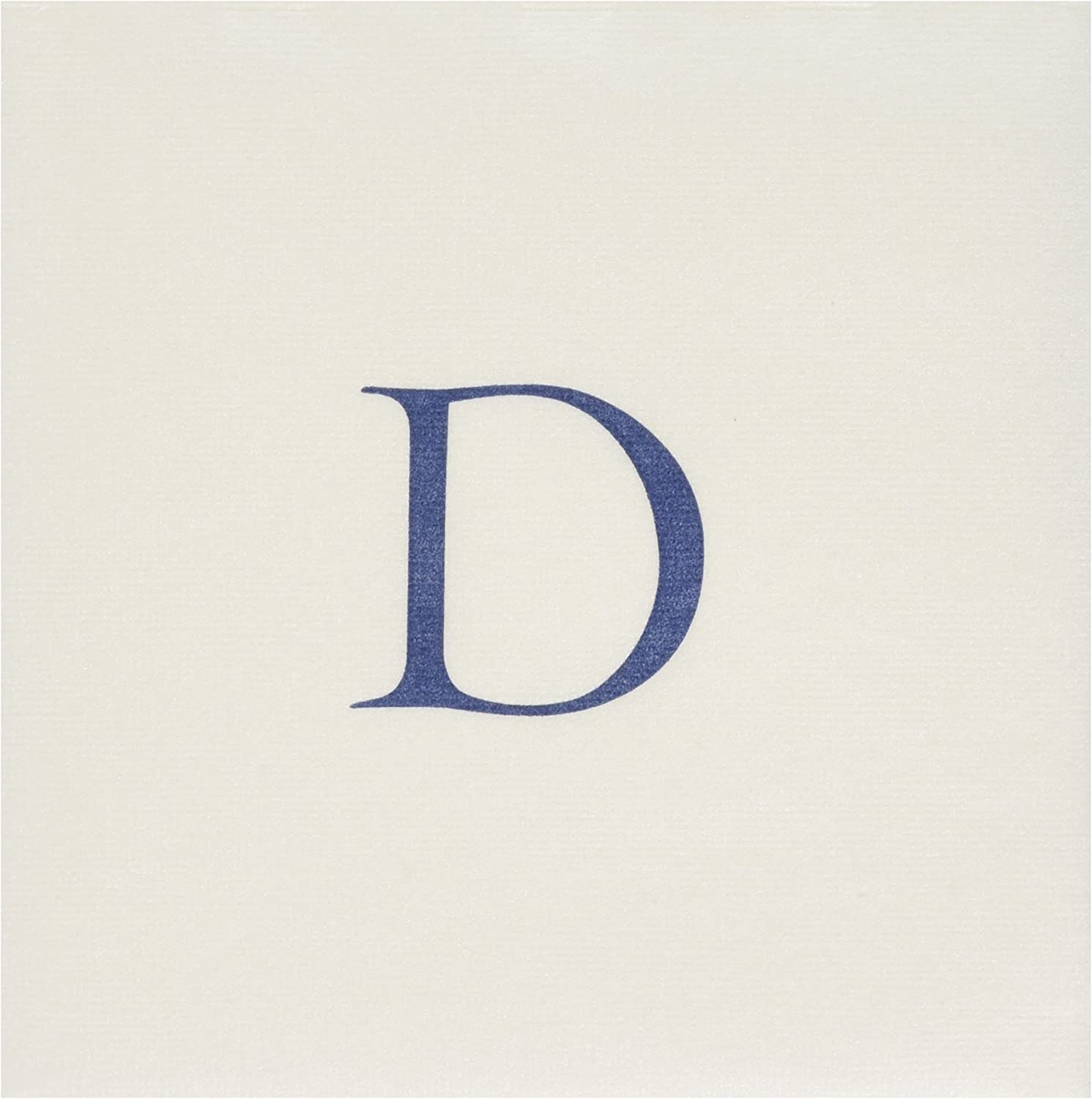 Caspari D-Pack of 3 White Pearl & Blue Paper Linen Boxed Cocktail Napkins in Letter Pack of 30