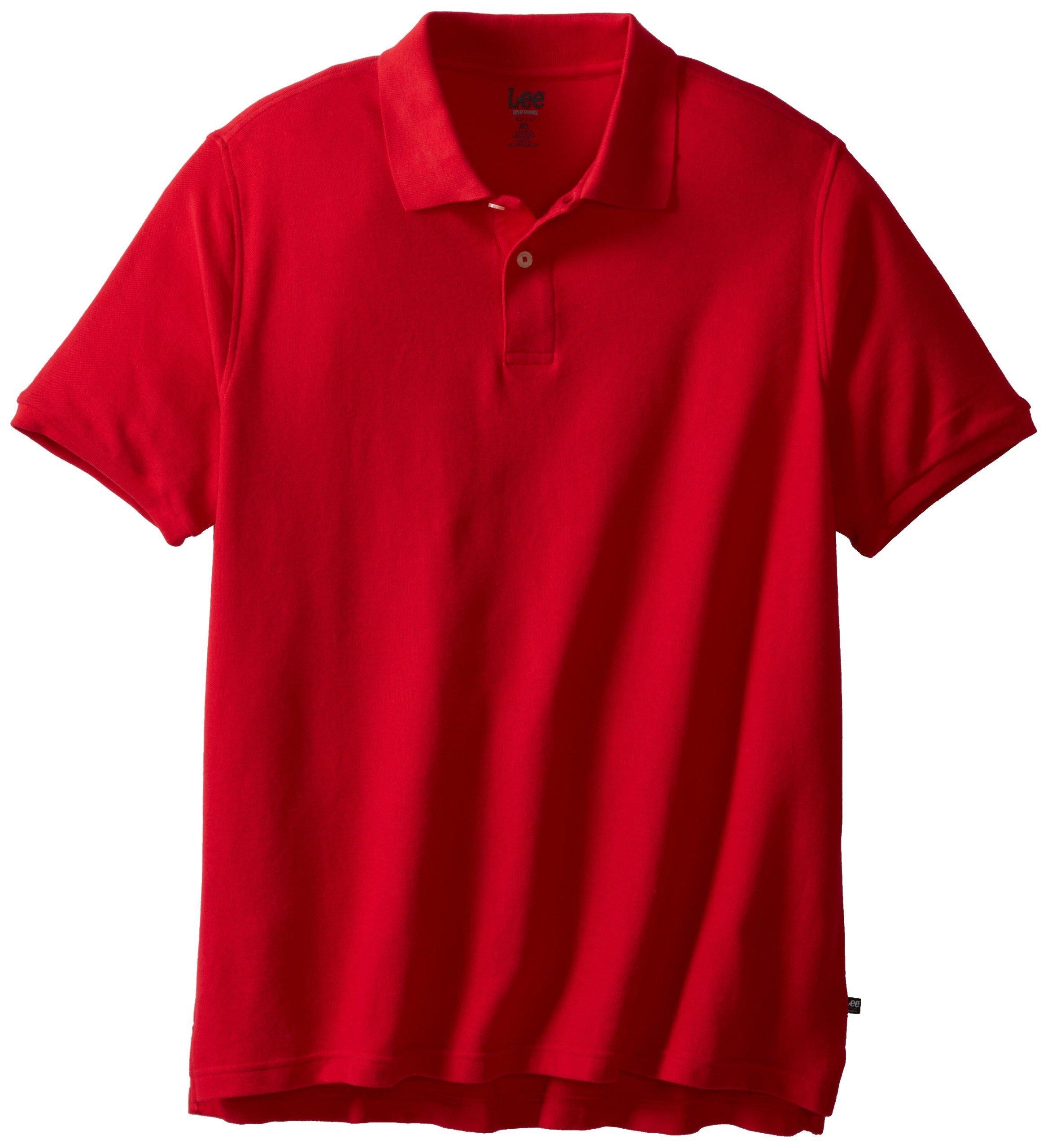 Lee Uniforms Modern Fit Short Sleeve Polo Shirt,Red,3XL