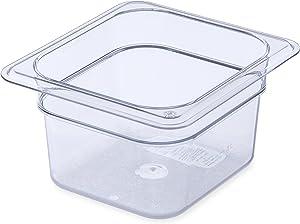 Carlisle (3068407) StorPlus Food Pans, Set of 6 (1/6 Size, 1.7-Quart, 4-Inch Deep, Polycarbonate, Clear, NSF)