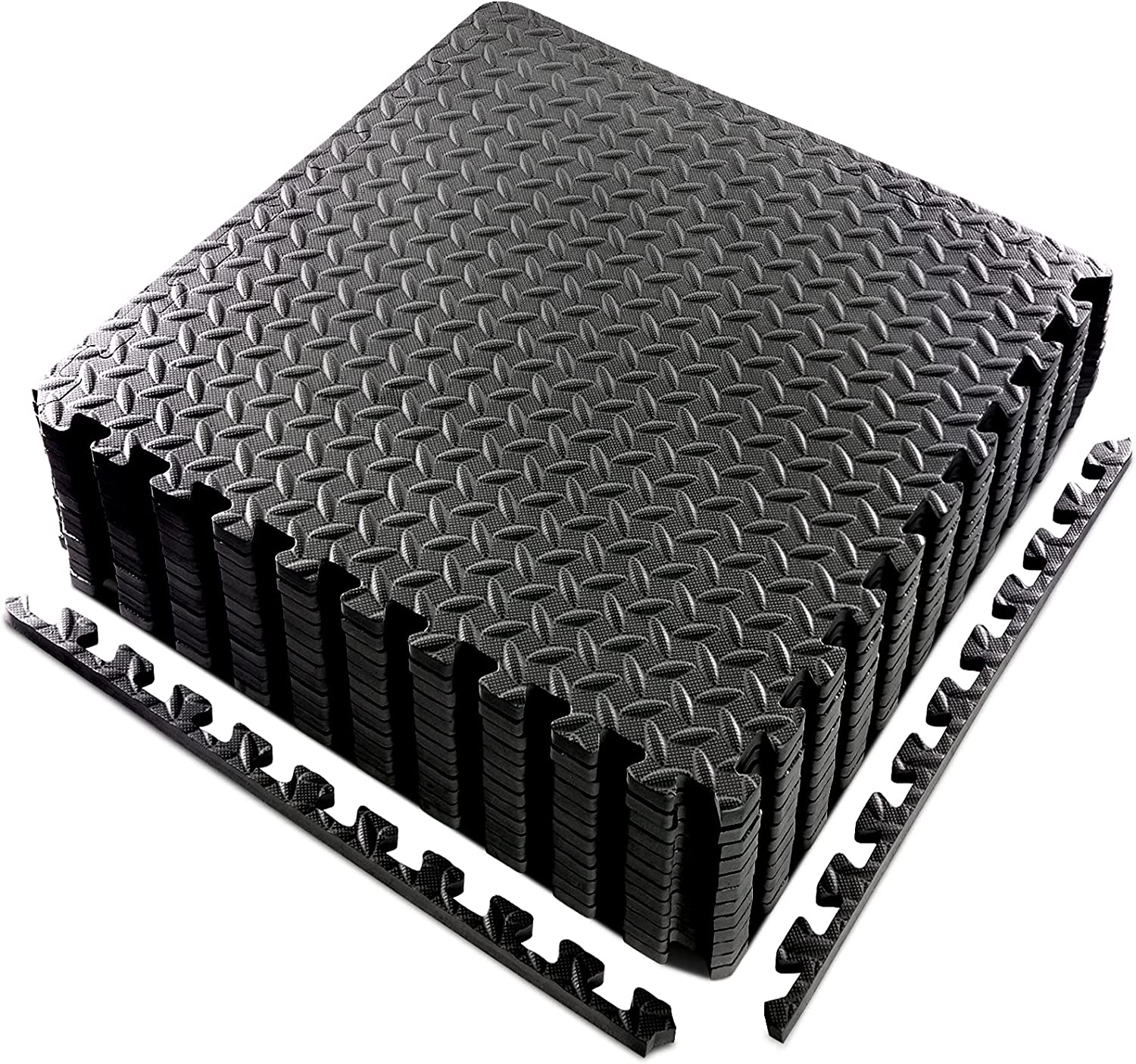 Puzzle Exercise Mat,Foam Interlocking Exercise Gym Floor Mat Tiles, 24 x 24 Inches EVA Foam Interlocking Tiles for Protective, Cushioned Workout Flooring for Home and Gym Equipment (6Pcs/12Pcs)
