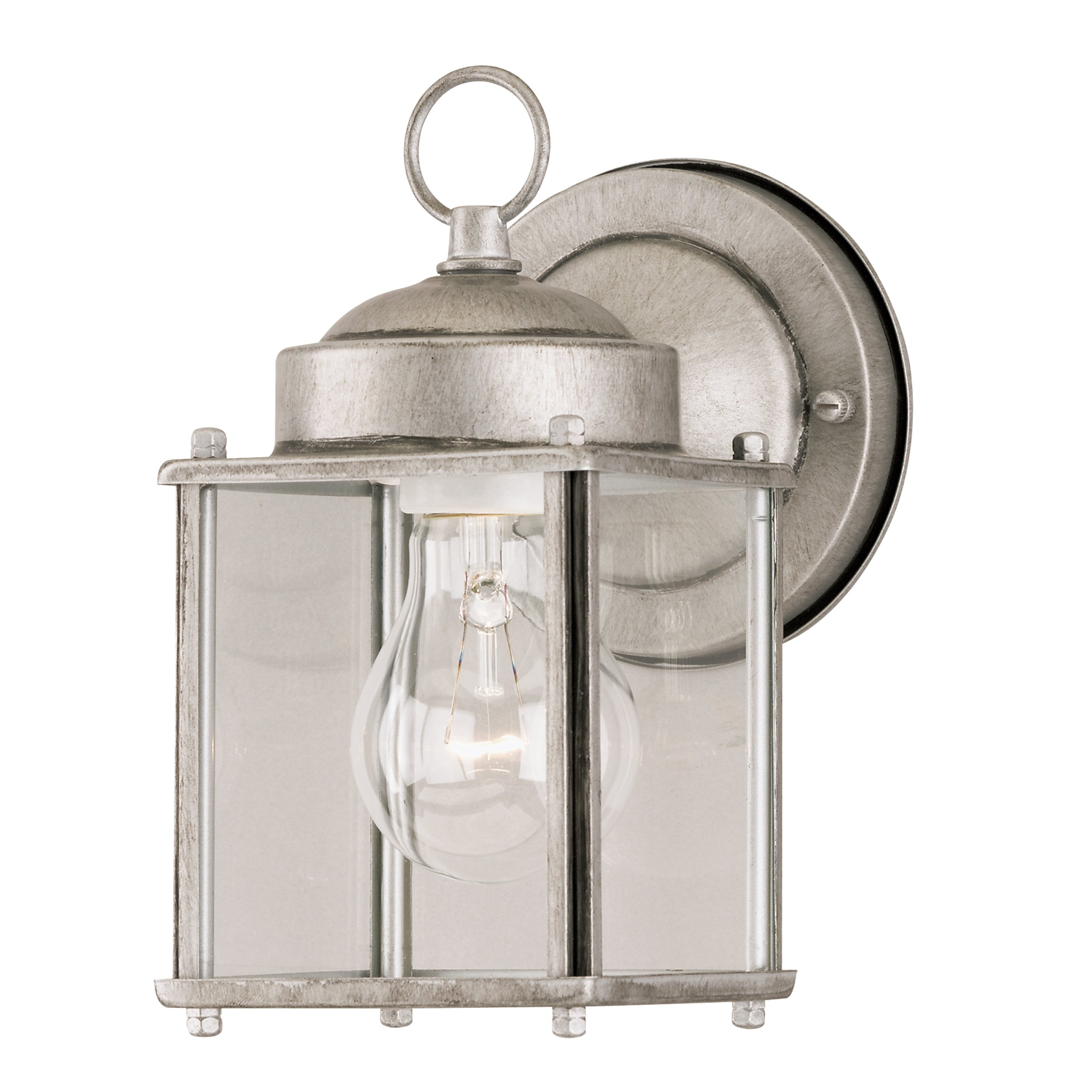 Westinghouse 6468400 One-Light Exterior Wall Lantern, Antique Silver Finish on Steel with Clear Glass Panels