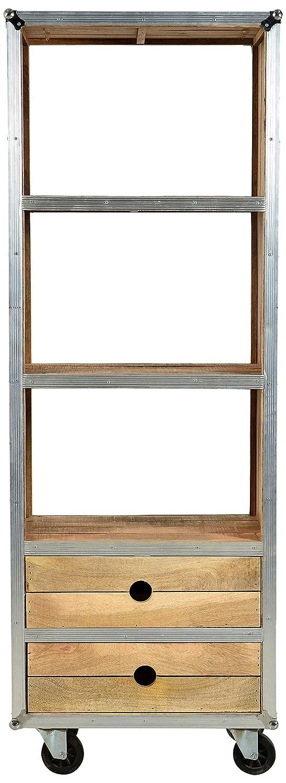 SIT-Möbel 2298-01 Regal Roadies, Mangoholz unbehandelt, naturfarben mit Alu beschlagen auf Gummirollen, 2 Schubladen, 3 Fächer, 60 x 40 x 173 cm