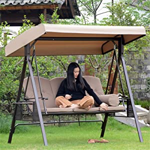 Qoyntuer Swing Replacement Canopy Cover, Outdoor Swing Canopy Replacement Top, Adjustable Patio Porch Swing Canopy Replacement Garden Hammock Furniture Protector Cover, 75.20X47.24X7.09in (Beige)