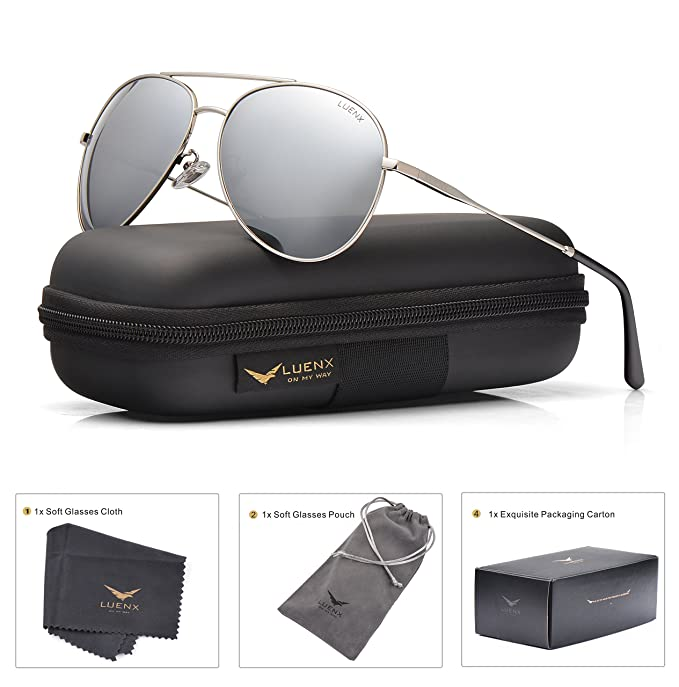 8c05c609767 LUENX Men Women Aviator Sunglasses Polarized Mirrored Silver Lens Metal  Frame UV 400 Driving 59MM with Accessories  Amazon.in  Clothing    Accessories