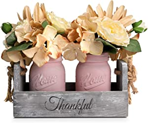 HOMKO Mason Jar Centerpiece Set with Artificial Flower, Kitchen Table Decor Centerpiece in Farmhouse Rustic Style for Flatware Organizer, Flower Arrangement, Garden Wedding (Pink, Medium)