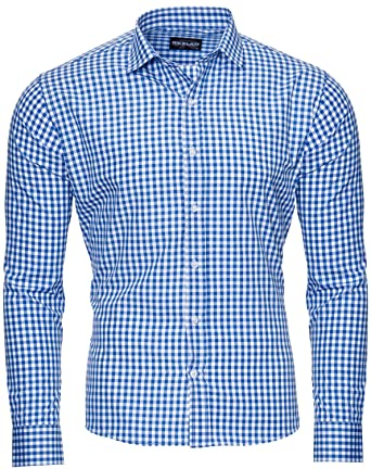 low priced 25c16 60dd4 Reslad Kariertes Hemd-Herren Slim Fit Bügelfreies Freizeithemd Kariert  Oktoberfest Hemd Trachtenhemd Karo-Hemd RS-7007