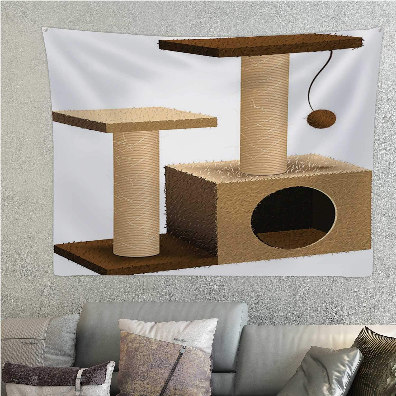 Hitecera Pet shopcat Tree,Tapestry cat Furniture - - Post Hippie 59.1'' x 51.1''(WxH)