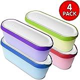 SUMO Ice Cream Containers: Insulated Ice Cream Tub for Homemade Ice-Cream, Gelato or Sorbet · Dishwasher Safe · 1.5 Quart Capacity · [Rainbow, 4-Pack]