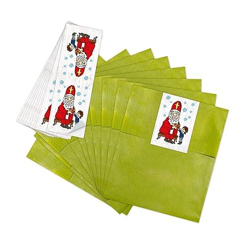 10 bolsas de papel pequeñas verdes weihnac htstüten bolsas de regalo (13 x 18 cm