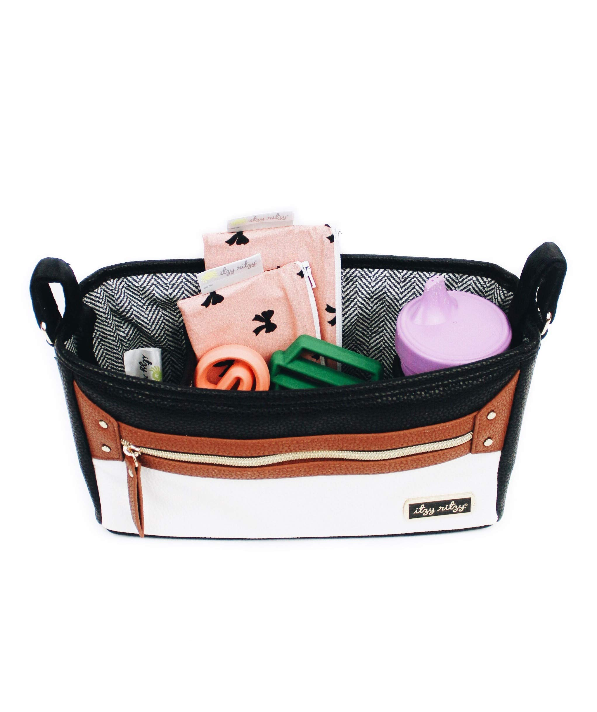 Itzy Ritzy Adjustable Stroller Caddy - Stroller Organizer Featuring Two Built-in Pockets, Front Zippered Pocket and Adjustable Straps to Fit Nearly Any Stroller, Coffee and Cream by Itzy Ritzy (Image #5)
