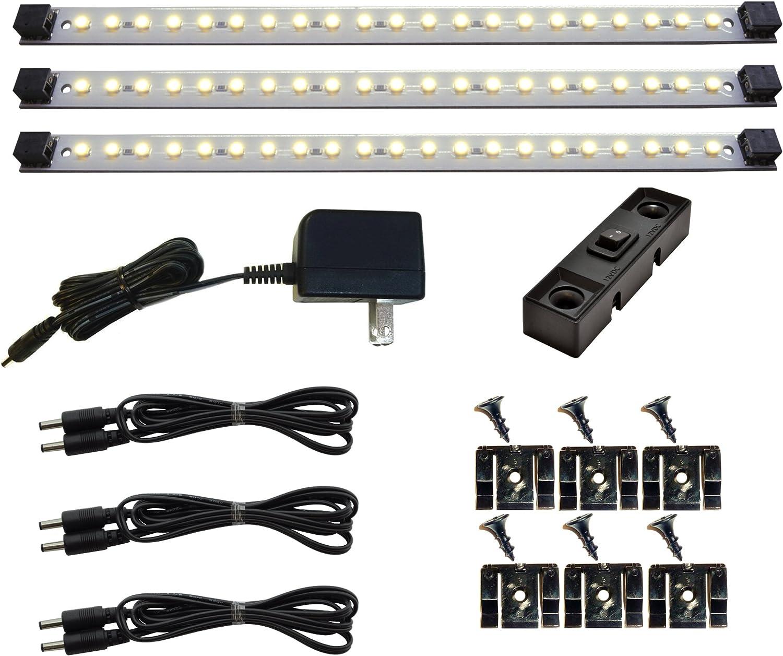 Under Cabinet Lighting LED Pro Series 21 LED – Deluxe Kit – 3 Light Panels 3000 Kelvin Warm White