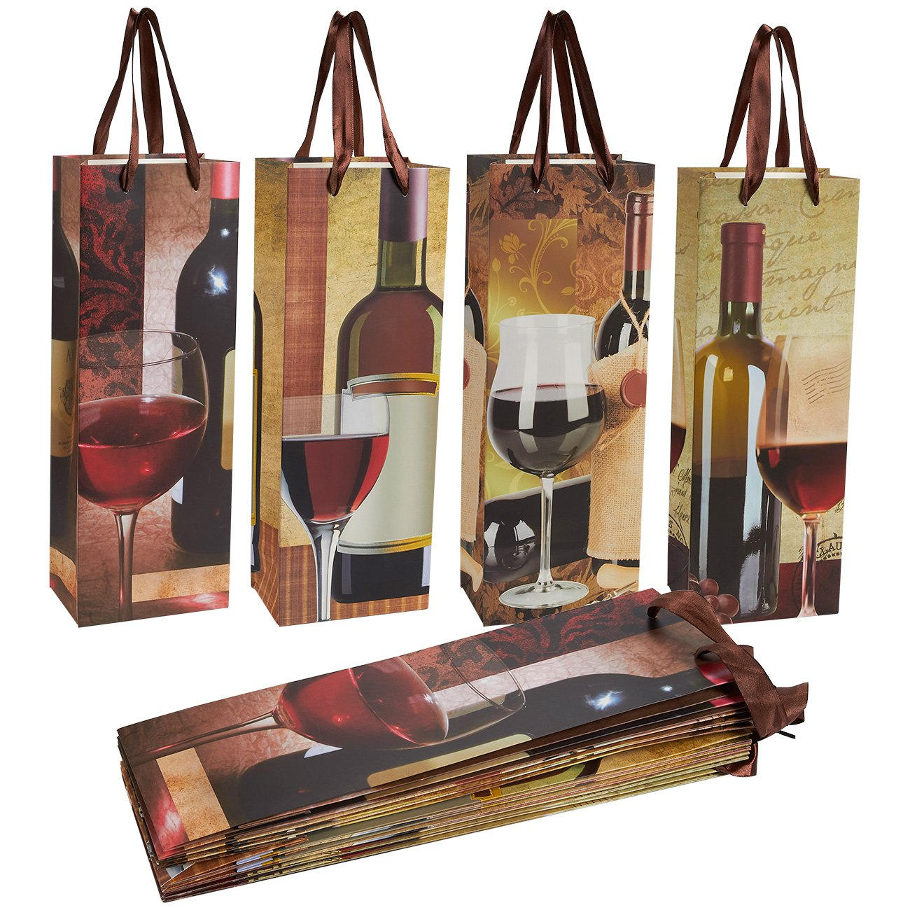 Wine Gift Bags - 12-Pack Wine Bags for Anniversary, Birthday, All ...